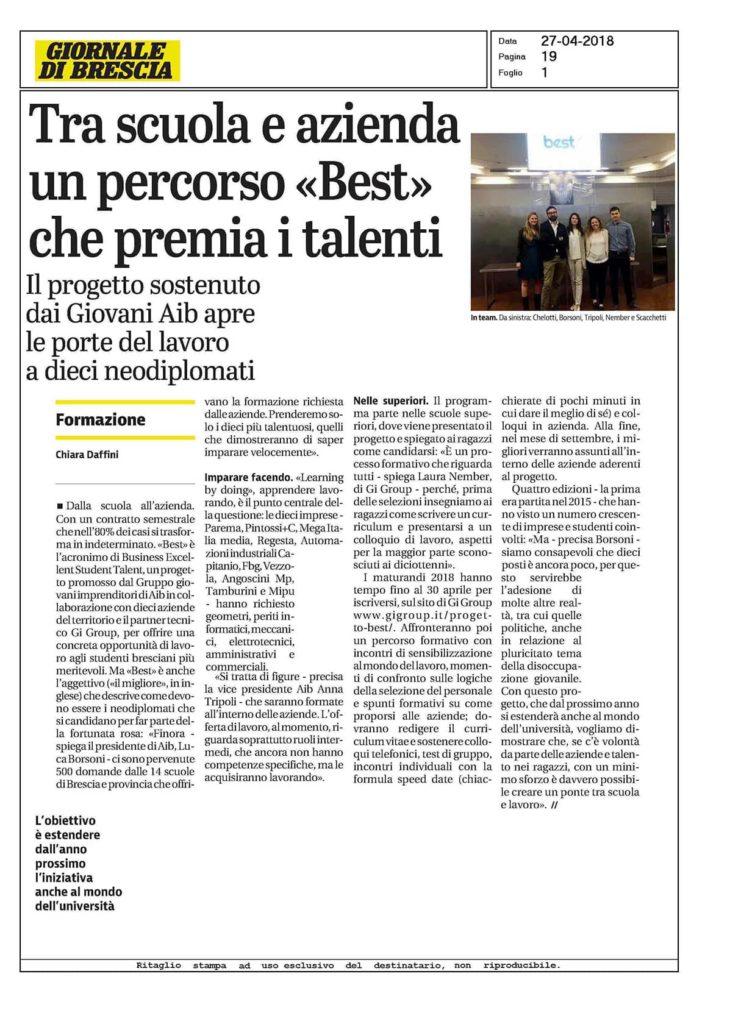 Giornale di Brescia 27aprile2018