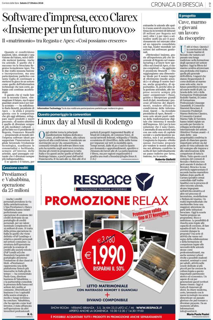 Corriere della Sera Brescia 27 Ottobre 2018 17