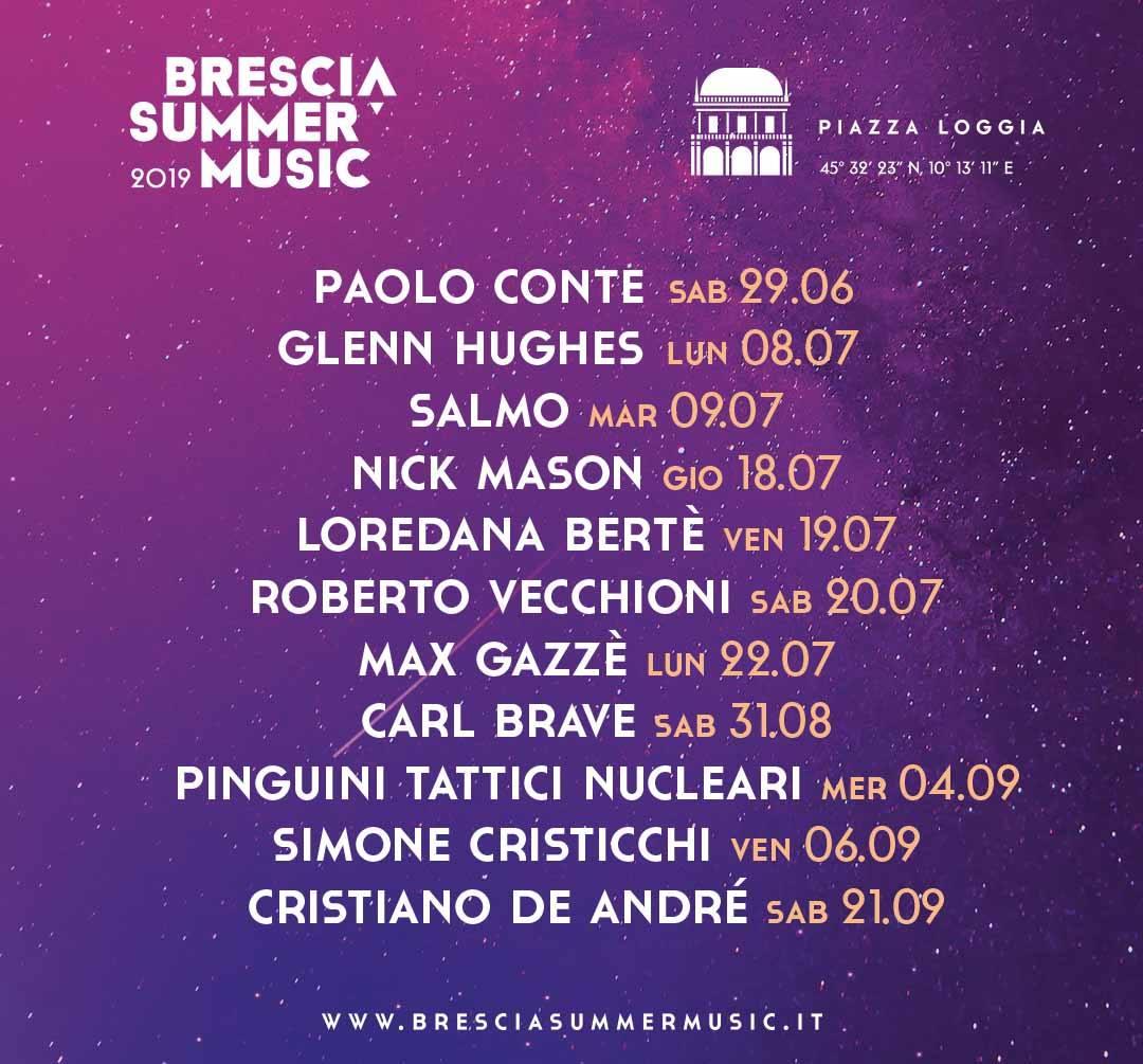 Locandina Brescia Music Festival con l'elenco delle date dei concerti che si terranno