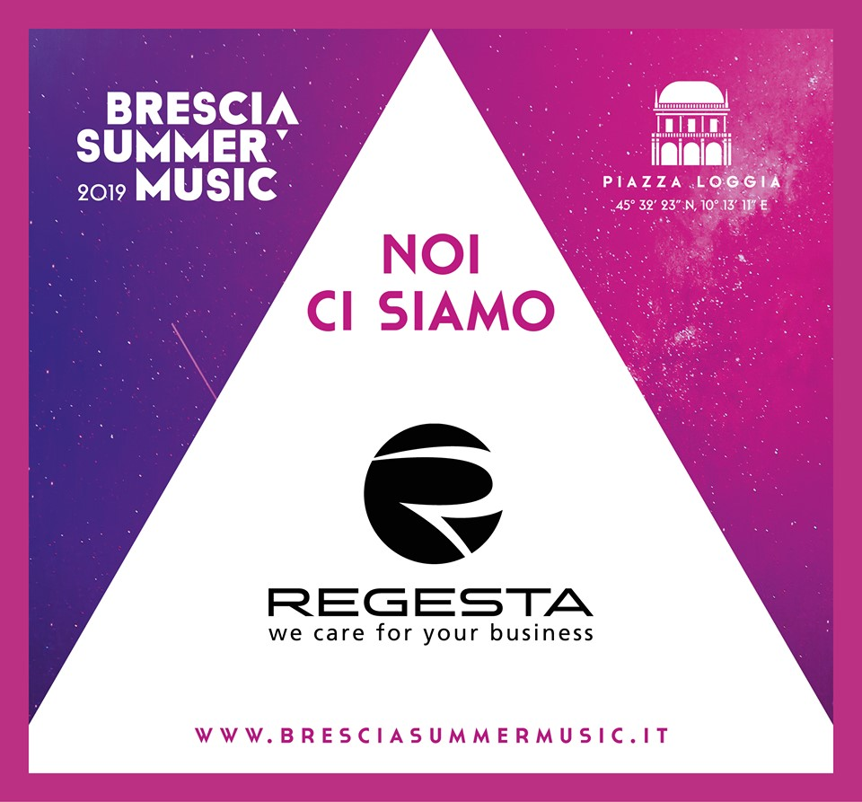Locandina del Brescia Summer Music 2019 recante il logo di Regesta partner dell'evento