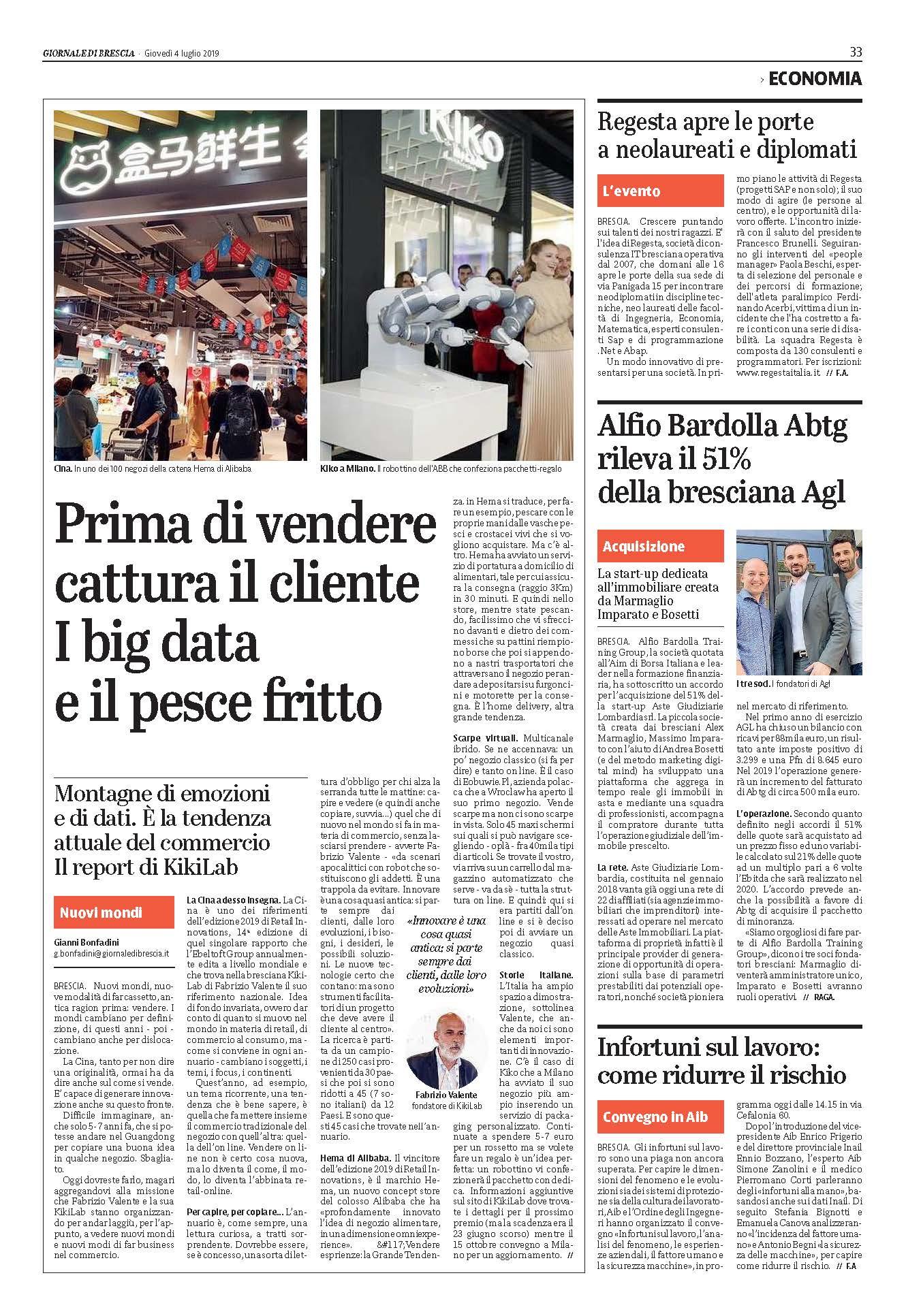 Giornale di Brescia 4 luglio 2019 – Da Vinci 4.0