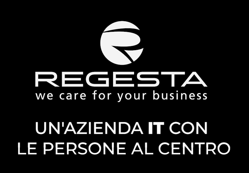 """Logo Regesta con pay off """"un'azienda IT con le persone al centro"""""""