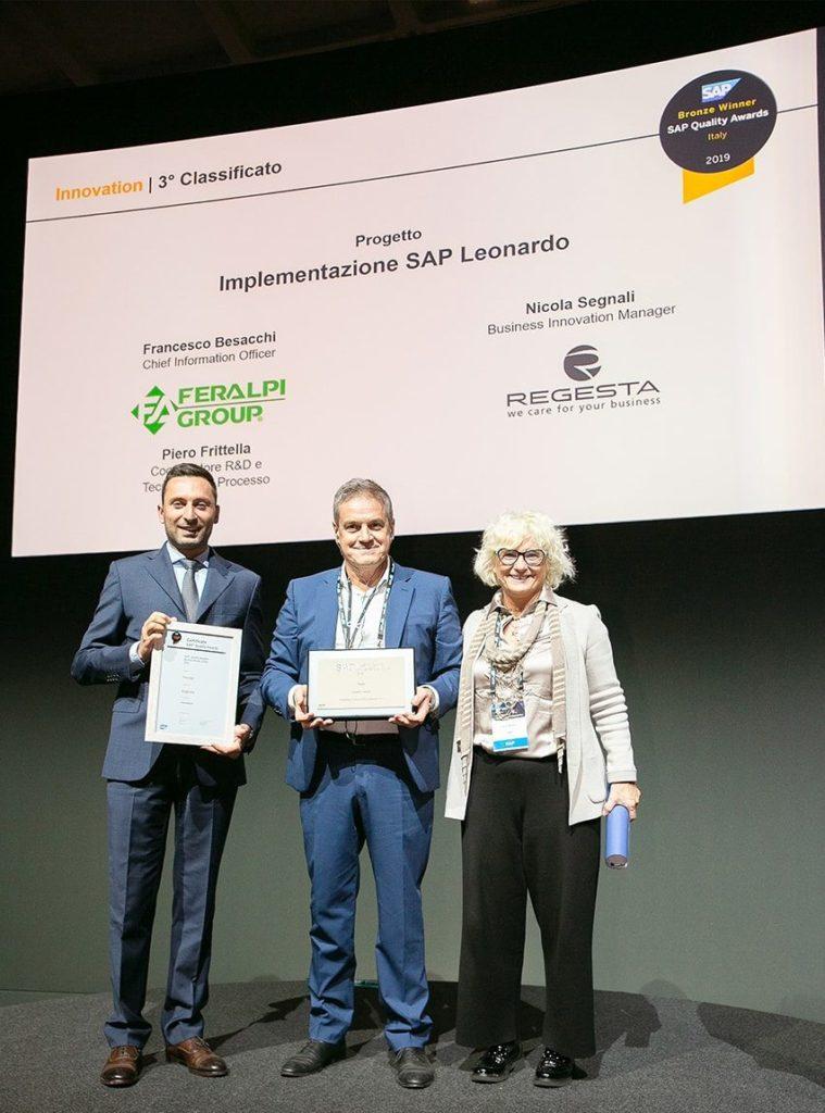 Immagine della premiazione durante il SAP Now del SAP Quality Award 2019, per innovation